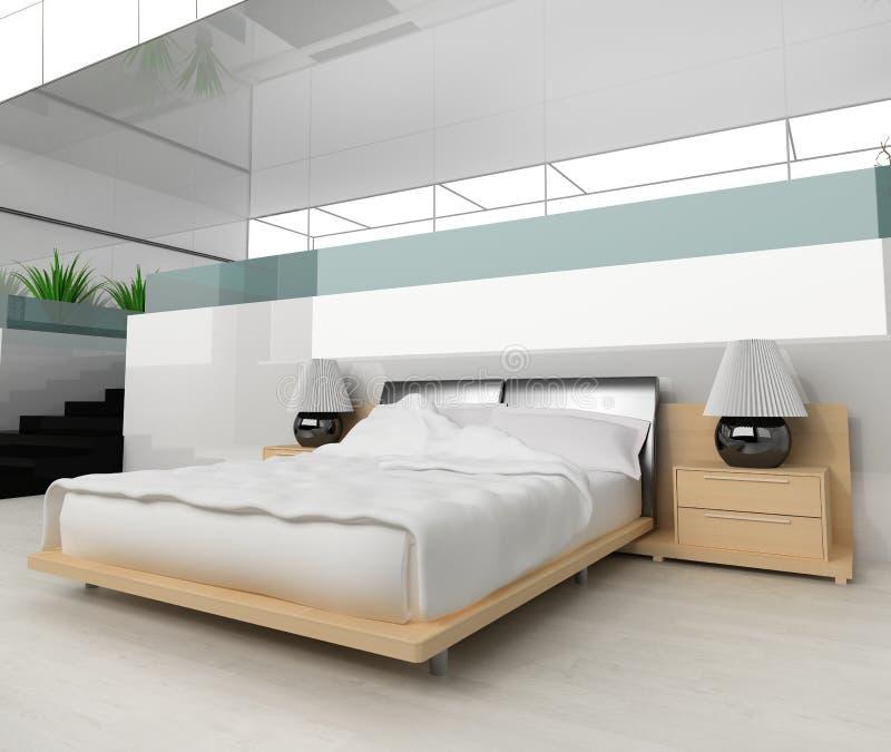 Modern bedroom. In white 3d image