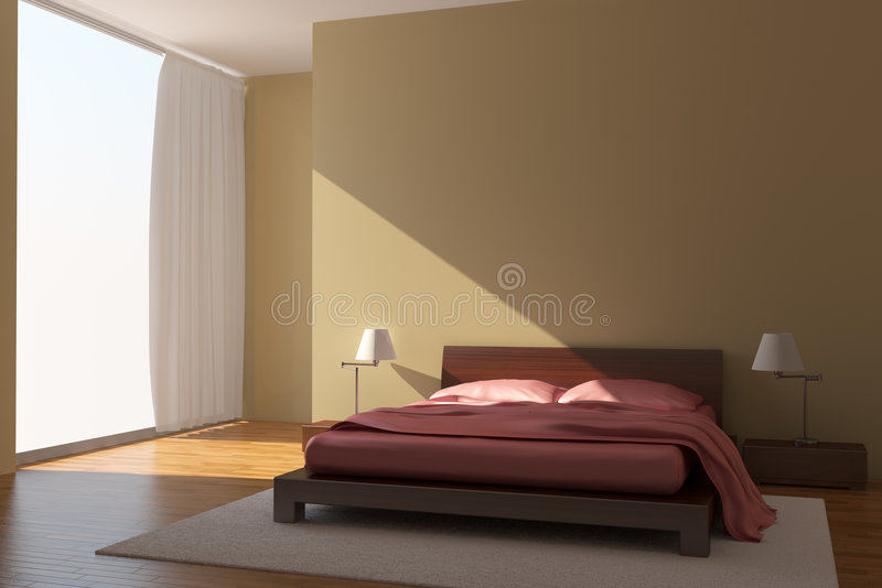 Download Modern bedroom stock illustration. Image of pillow, lamp - 8824748