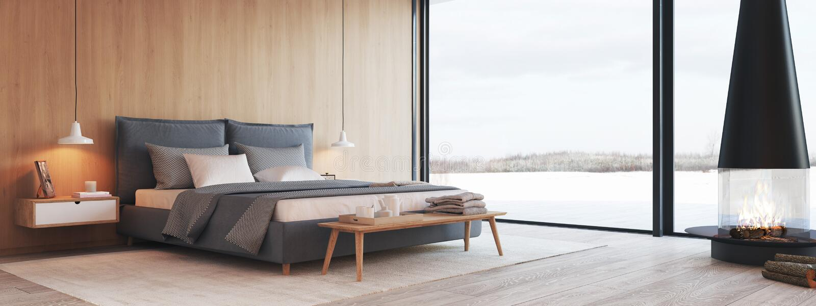 Modern bedroom in a apartment with view. 3d rendering royalty free illustration