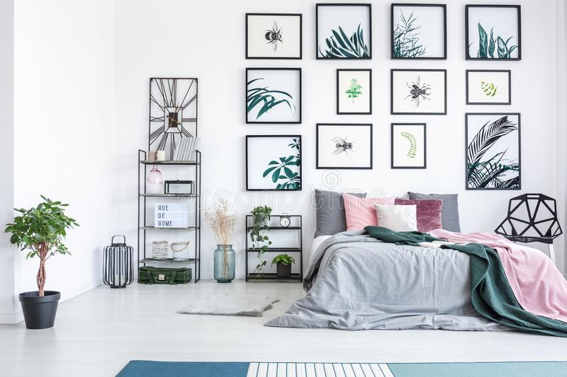 Modern bedroom with botanic gallery stock photo