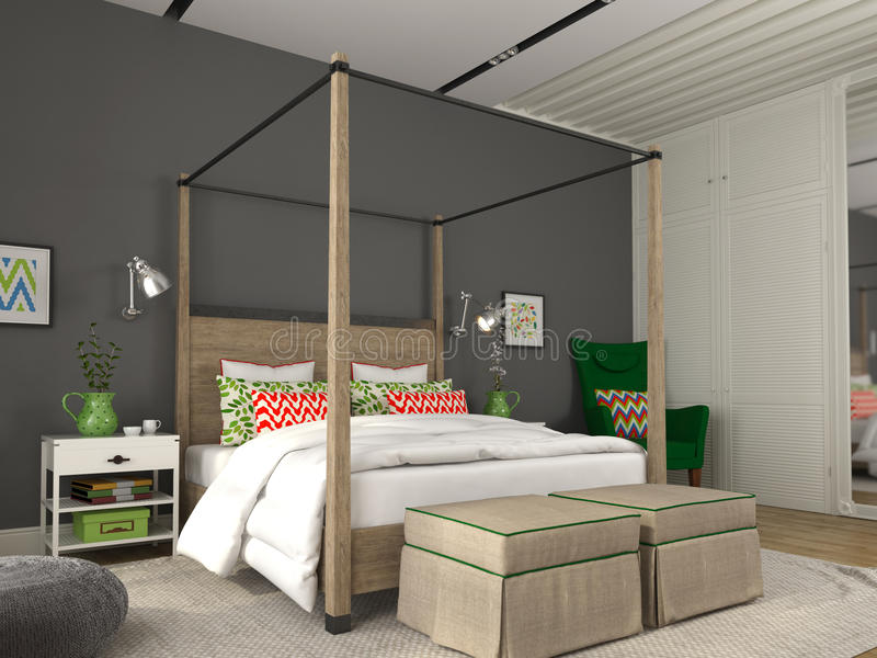 Modern bedroom with colorful decoration royalty free stock photo