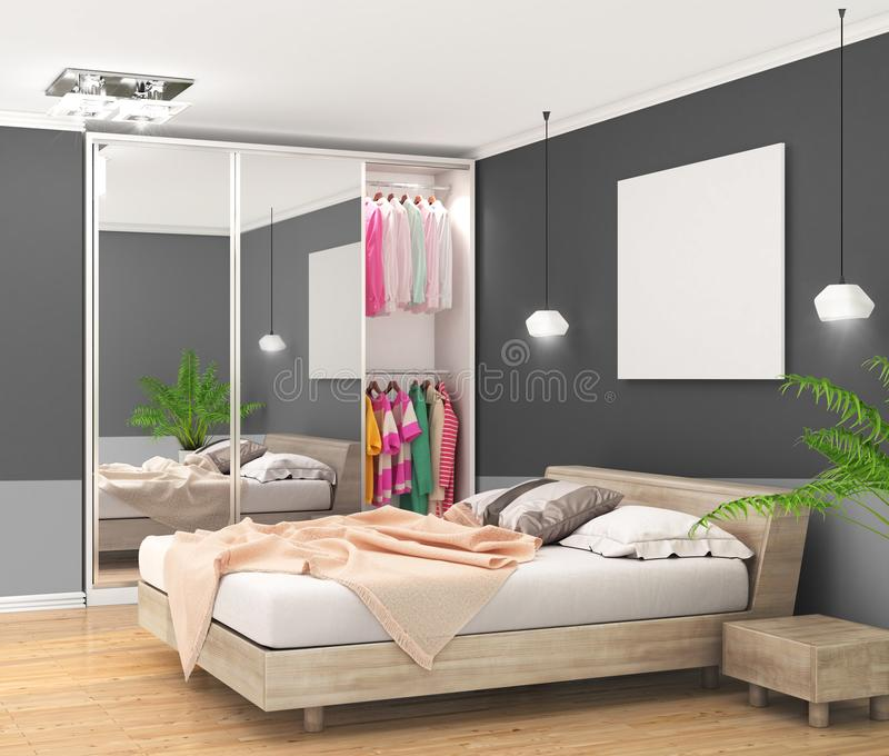 Modern bedroom with dark walls, large closet with mirrored doors and large bed, empty canvas on the wall stock illustration