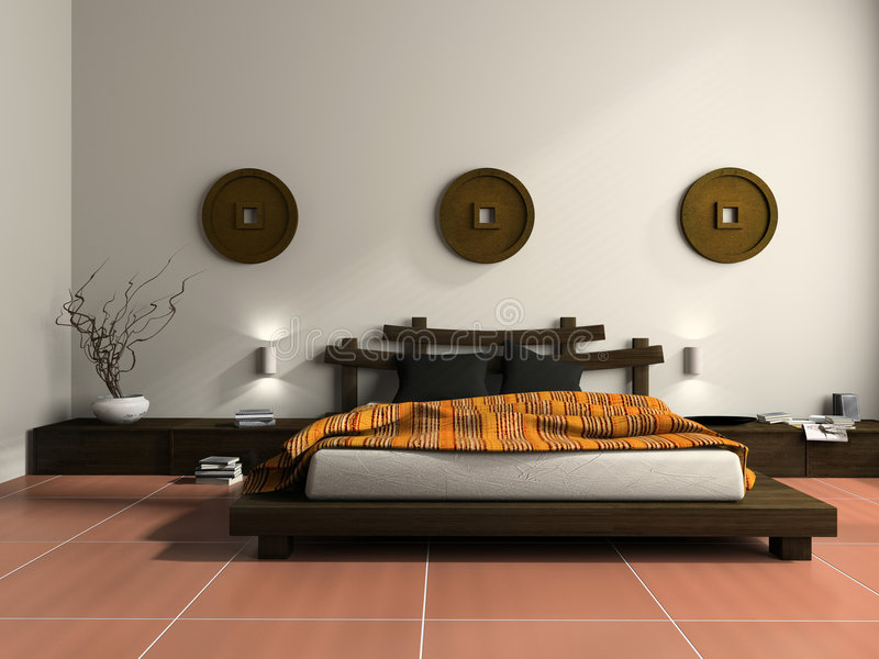 Modern bedroom in ethnic style stock illustration