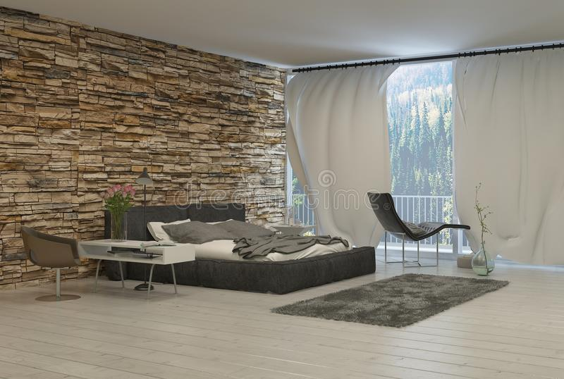Modern Bedroom with Exposed Brick Wall royalty free illustration