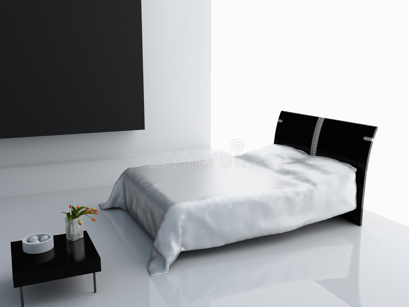 Modern bedroom interior. Design (computer - generated image royalty free stock image