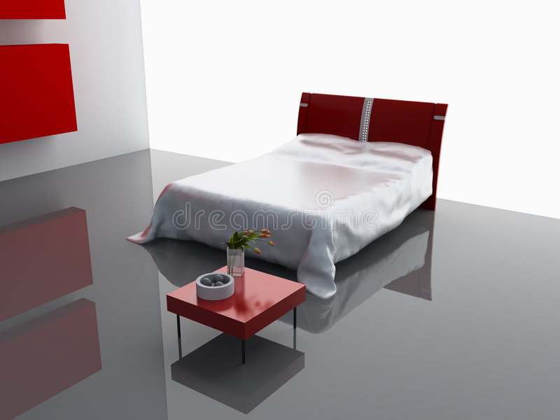 Modern bedroom interior. Design (computer - generated image stock photo