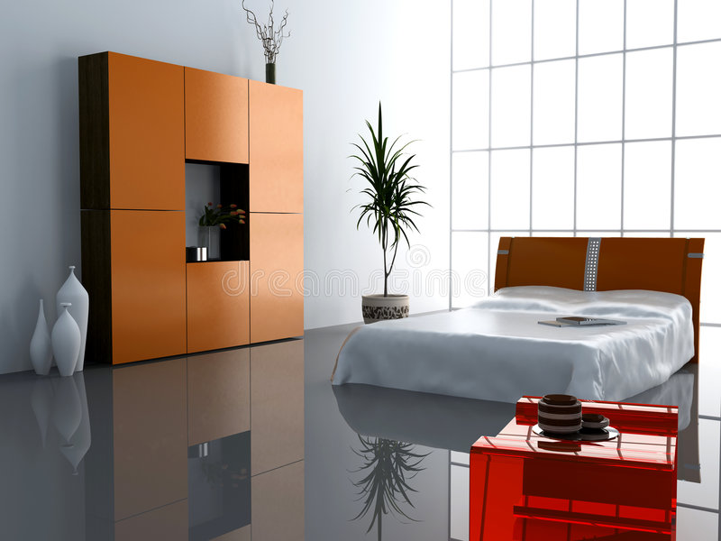 Modern bedroom interior vector illustration
