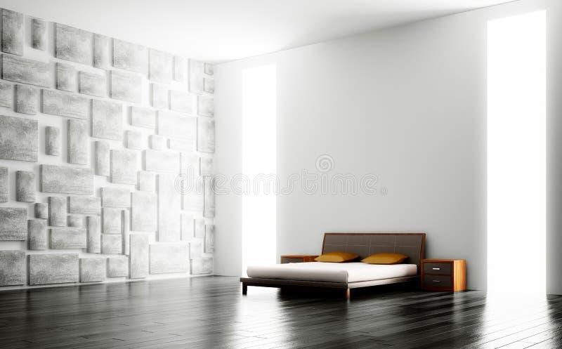 Modern bedroom interior 3d vector illustration