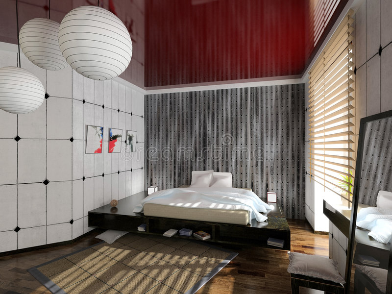 Modern bedroom interior. Design (computer - generated image royalty free stock photos