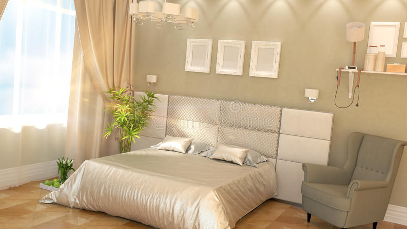 Modern bedroom Interior. With armchair 3D rendering stock illustration
