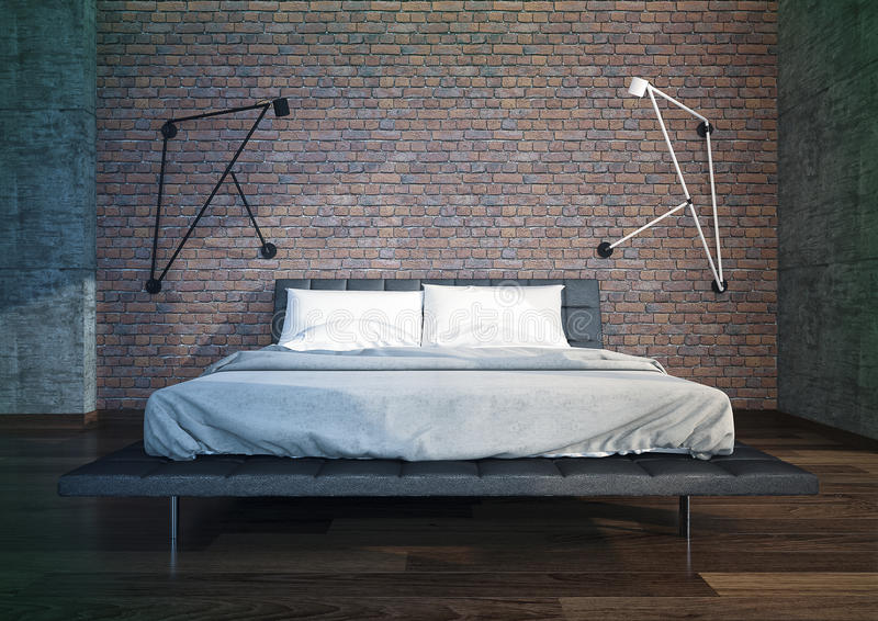 Modern bedroom interior. With brick wall , minimalistic furniture stock image