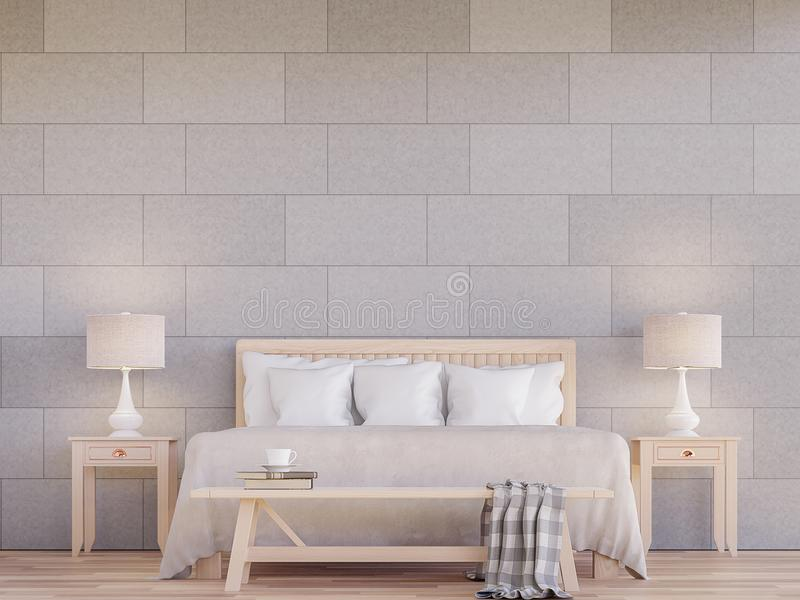 Modern bedroom interior 3d rendering image. The rooms have wooden floors.Decorate wall with concrete tile in the pattern of brick. Furnished with light color vector illustration