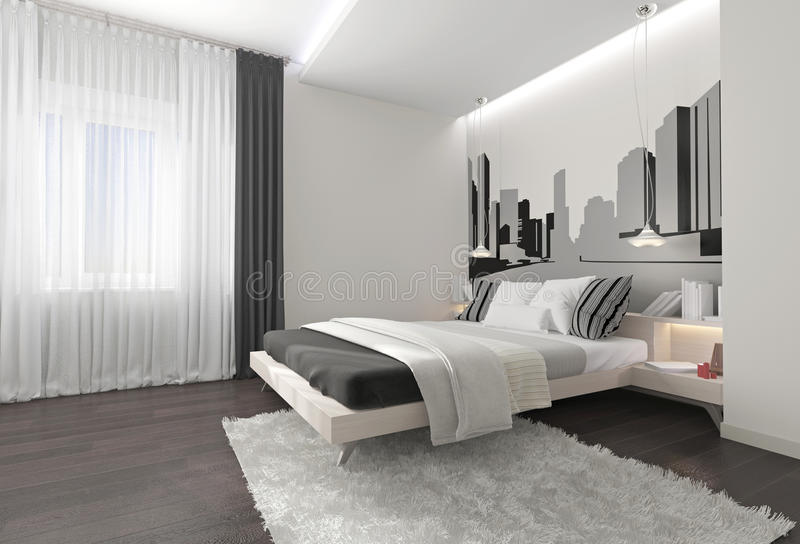 Modern bedroom interior with dark curtains. Modern bedroom interior with white blanket, dark curtains and drawings on the walls, the carpet on the parquet floor stock photography