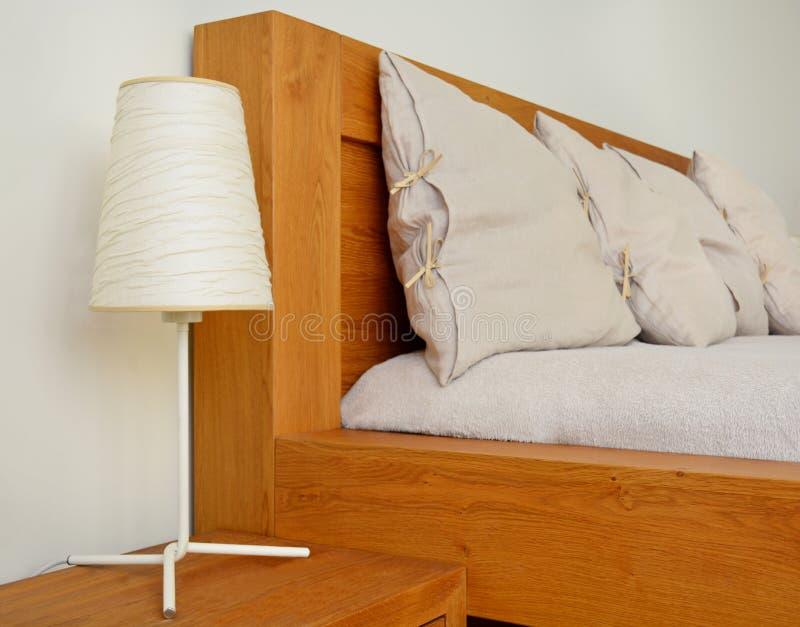 Modern Bedroom Interior Design With Natural Oak Wood Furniture Stock ...