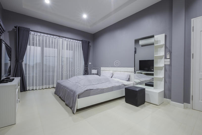 Modern bedroom interior. In home stock images