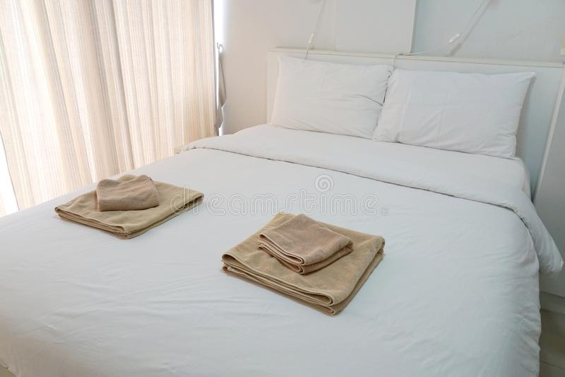 Modern bedroom interior of luxury house stock photo