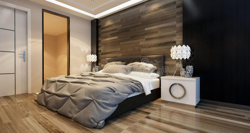 Modern bedroom interior with overhead lighting. And a stylish bed in front of a wooden wall in a luxury home. 3d Rendering royalty free stock image