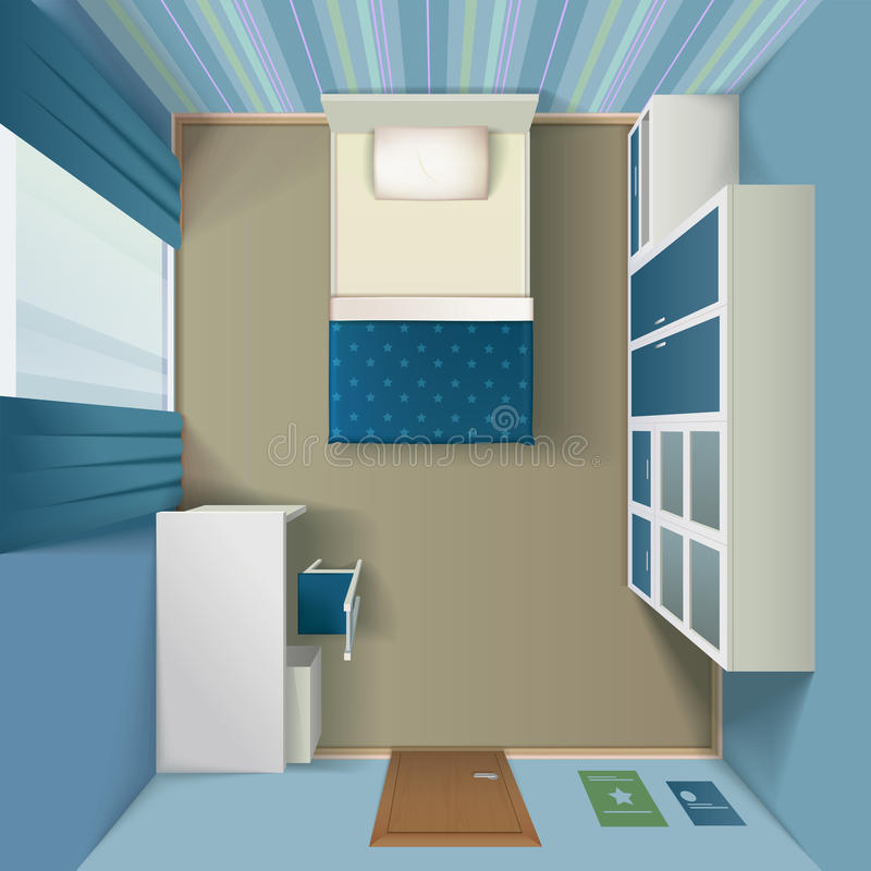 Modern Bedroom Interior Realistic Top View Stock Vector