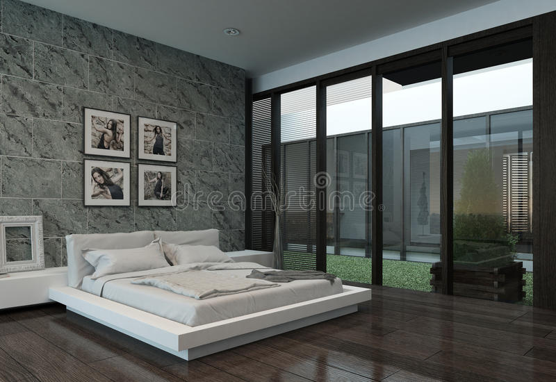 Modern bedroom interior with stone wall royalty free illustration