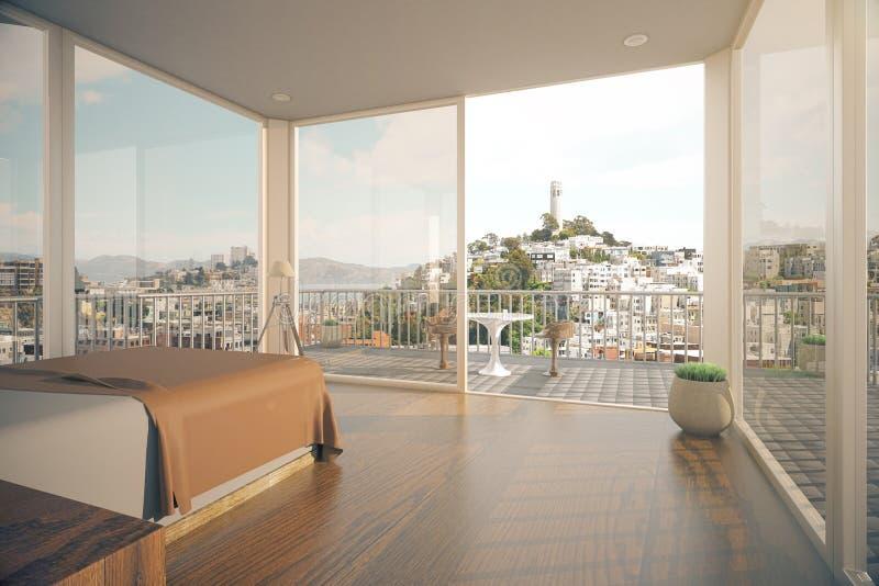 Modern bedroom interior with sunlight stock illustration