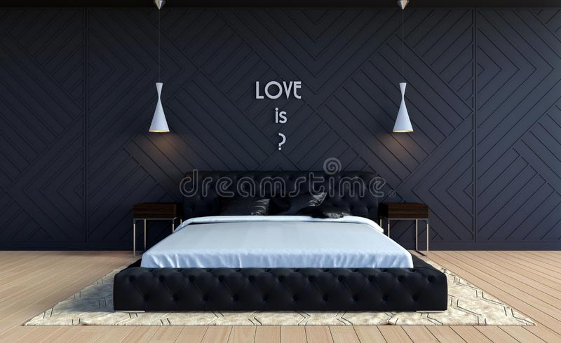 Modern bedroom interior in Valentine theme color with text on wall royalty free stock images