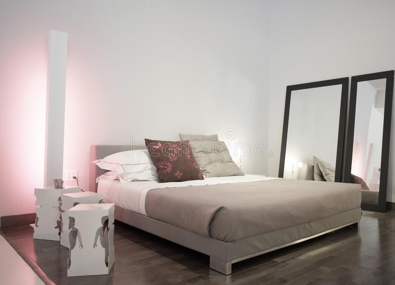 Modern bedroom set stock photos