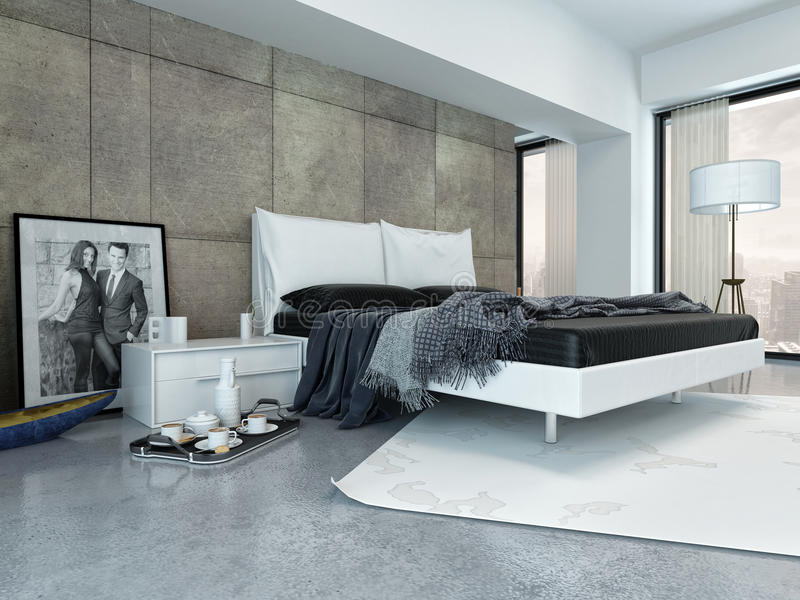Modern Bedroom with Tray Beside Bed royalty free illustration