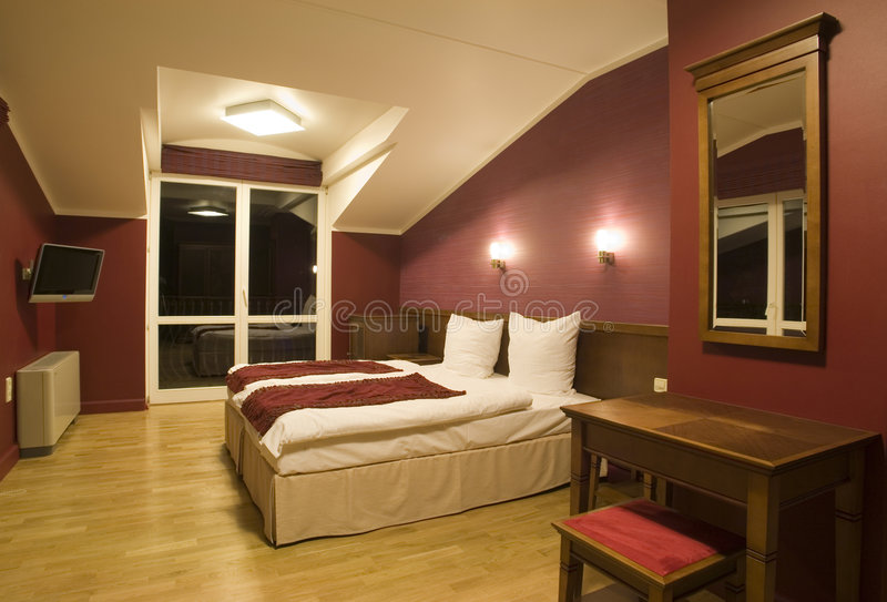 Modern bedroom view royalty free stock photo