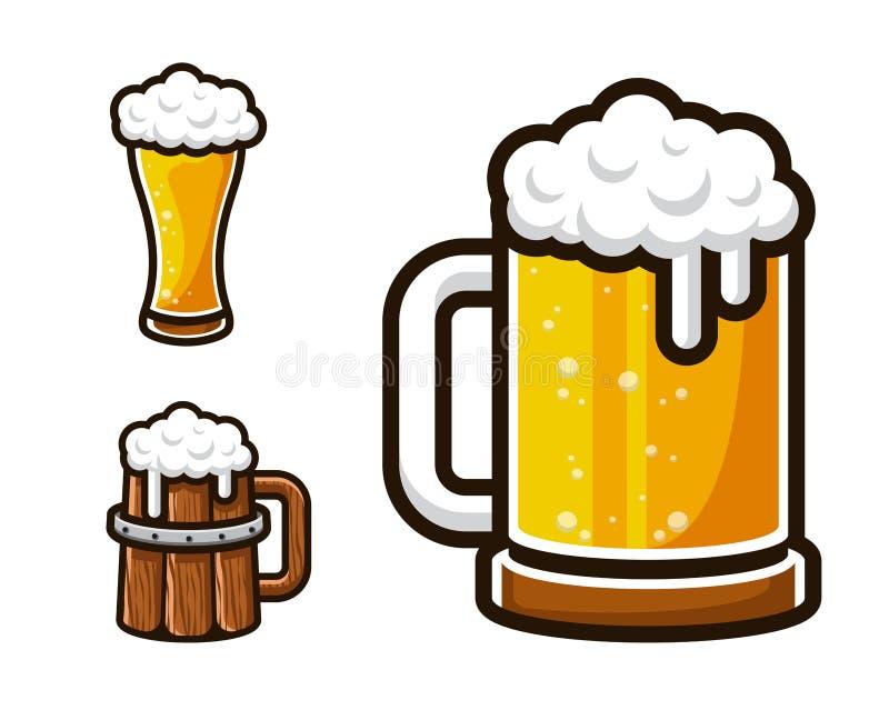 Modern Beer Graphic Asset Illustration Set. Modern Beer Graphic Asset Illustration Suitable for Logo, Card, Game Asset, Bar Menu, And Other Beer Related stock illustration