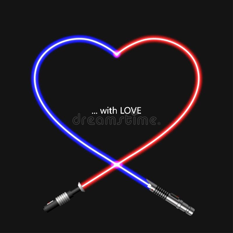 Modern begreppshjärta och lightsaber för vektor för valentindag vektor illustrationer