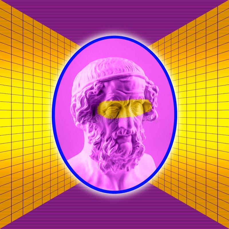 Modern begreppsmässig konstaffisch med den forntida statyn av bysten av Homer Collage av samtida konst vektor illustrationer