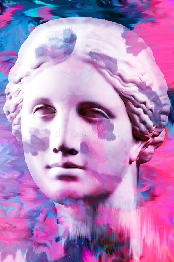 Modern begreppsmässig konstaffisch med den forntida statyn av bysten av Venus Collage av samtida konst royaltyfri illustrationer