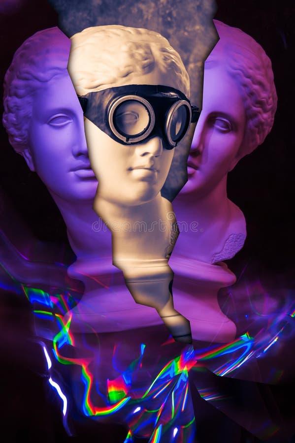 Modern begreppsmässig konstaffisch med den forntida statyn av bysten av Venus Collage av samtida konst stock illustrationer