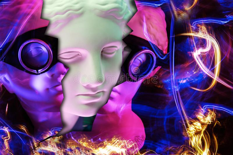 Modern begreppsmässig konstaffisch med den forntida statyn av bysten av Venus Collage av samtida konst vektor illustrationer