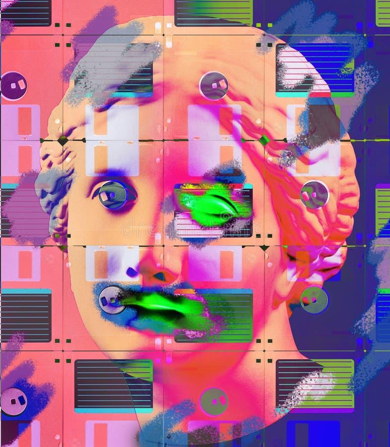 Modern begreppsmässig konstaffisch med den forntida statyn för framsida och diskettdisketten Collage av samtida konst royaltyfri illustrationer