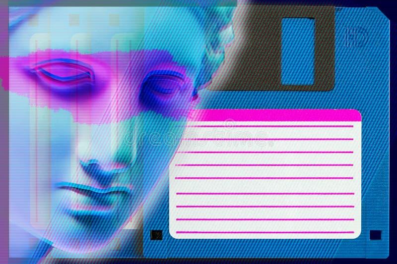 Modern begreppsmässig konstaffisch med den forntida statyn för framsida och diskettdisketten Collage av samtida konst stock illustrationer