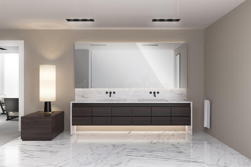 Modern beige bathroom. Rendering of a Modern beige bathroom stock photo