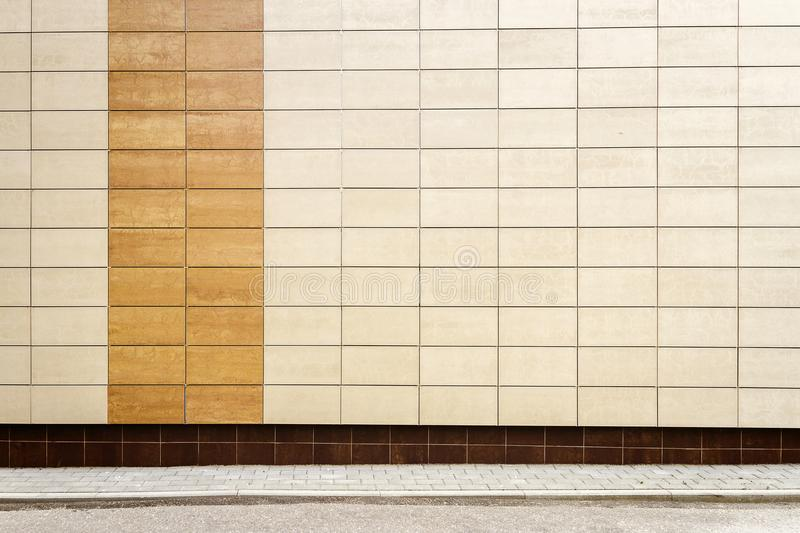 Modern beige metal tiles wall royalty free stock images