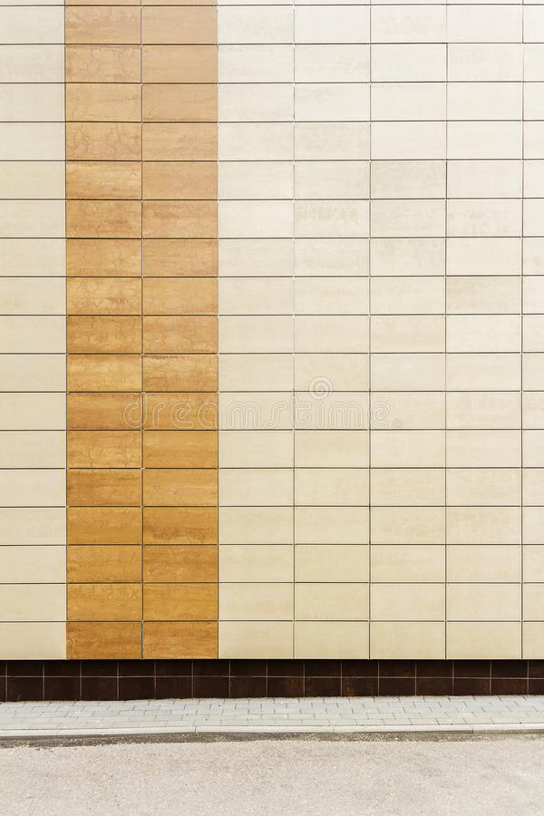 Modern beige metal tiles wall stock photography