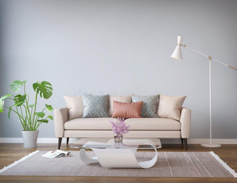 Modern beige soffavardagsrum, golvlampa royaltyfria bilder