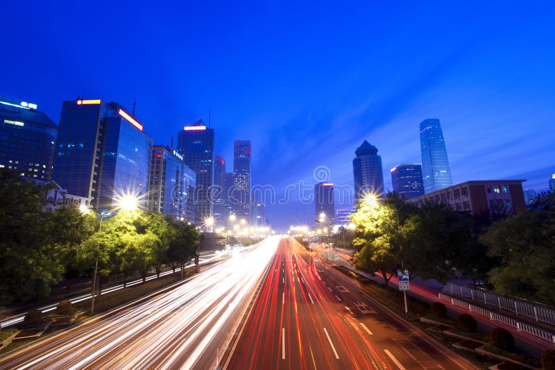modern beijing cityscapeskymning arkivfoto