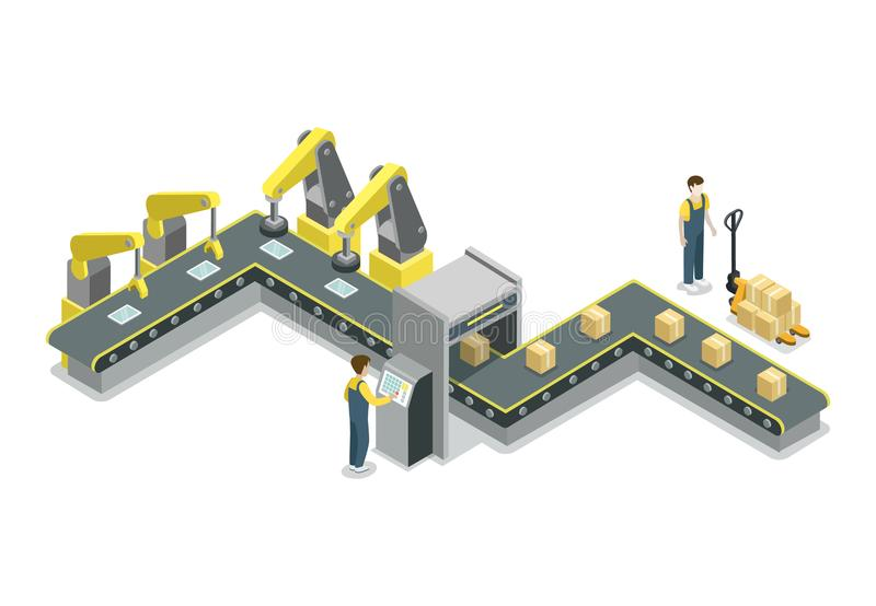 Modern Belt Production Line Isometric 3D Icon Stock Vector