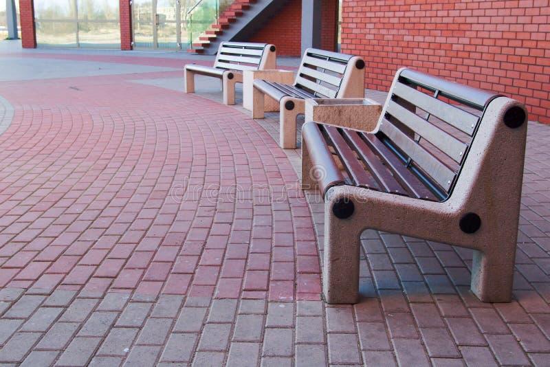Modern benches stock photo