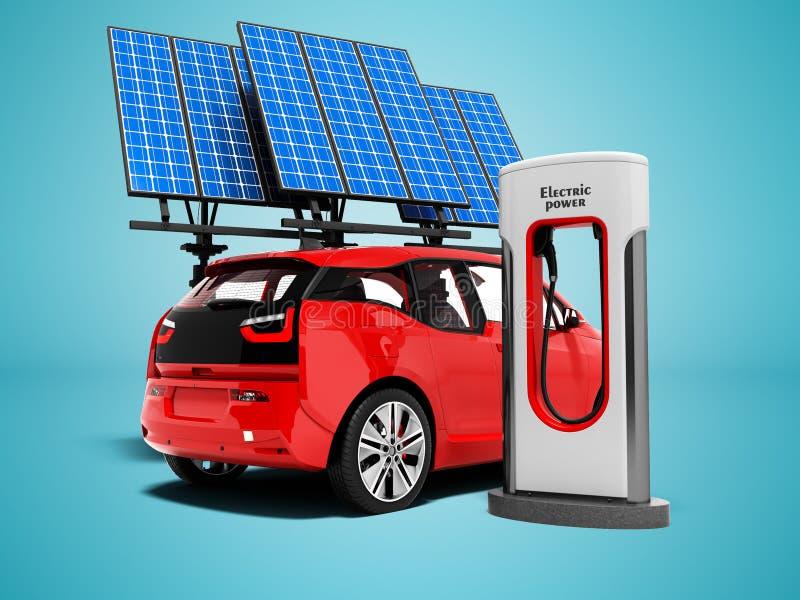 Modern benzinestation voor rode elektrische auto met kolom en zonnepa royalty-vrije illustratie