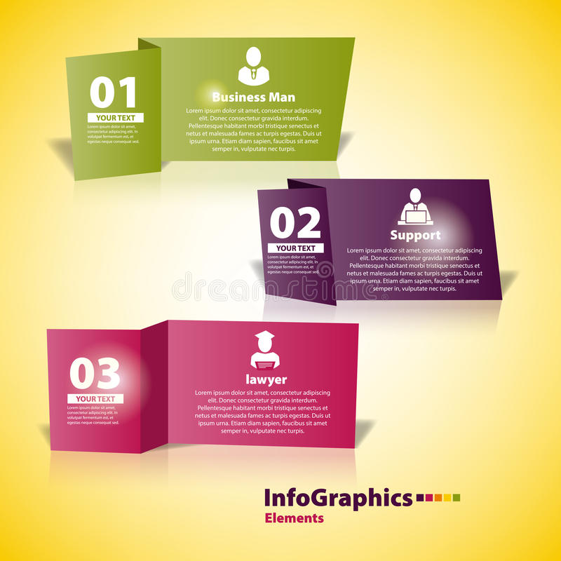 Modern beståndsdel för infographics för snitt för affärspapper vektor illustrationer