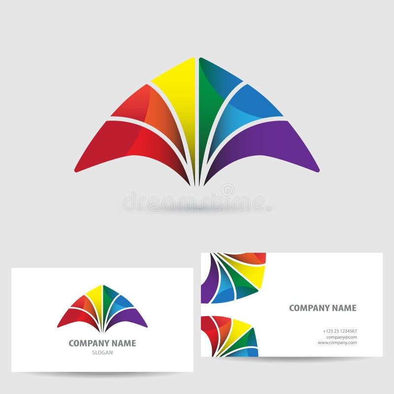 Modern beståndsdel för symbolsdesignlogo med mallen för affärskort vektor för semester för färgrik begreppsillustration avslappna vektor illustrationer