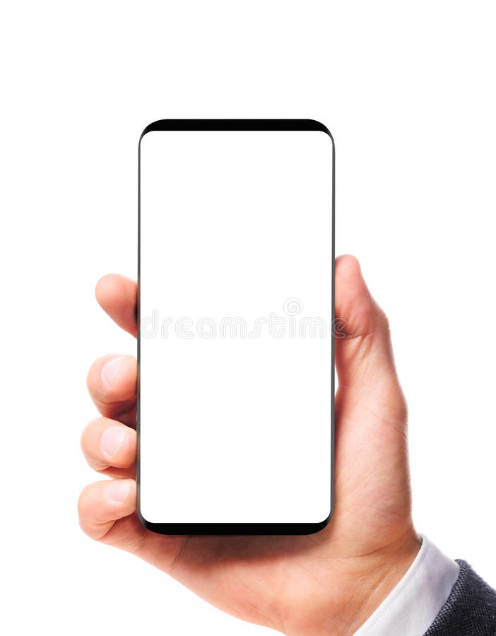 Modern bezelless smartphone in hand royalty free stock photography