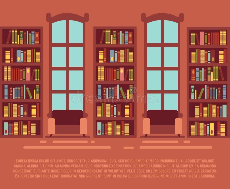 Modern bibliotheek leeg binnenland met boekenkast, bibliotheca met bookselves vectorillustratie stock illustratie