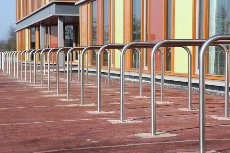 Modern bicycle racks stock photo