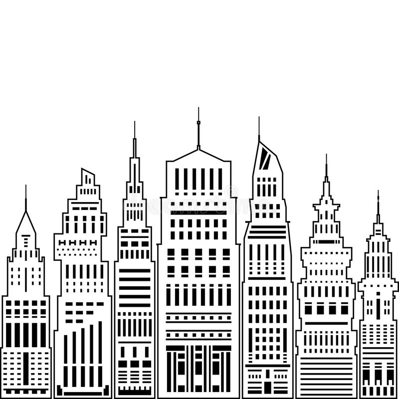Modern Big City. With Buildings and Skyscraper, Architecture Megapolis, City Financial Center on a Light Background ,Black and White Vector Illustration stock illustration